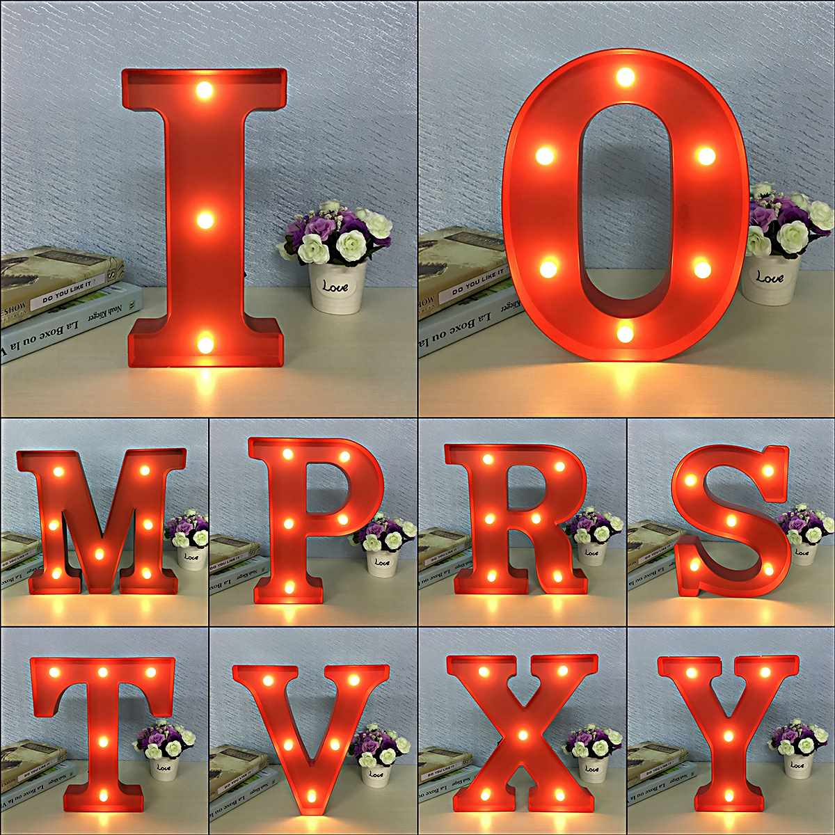 led night light lamp kids marquee letter lights vintage alphabet light up christmas party wall. Black Bedroom Furniture Sets. Home Design Ideas