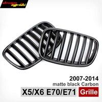 X5 E70 Carbon Fiber Fram Trimed Matte Black ABS Wide Kidney Front Hood Grille Grill For