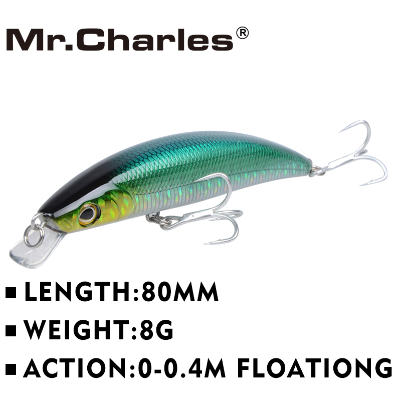 Mr.Charles CMC001 Fishing Lure 80mm/8g 0-0.4m Floating Super Sinking Minnow quality professional Hard bait Fishing Tackle