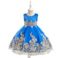 2018 new European and American Amazon children's dress gold wire embroidery Princess piano performance dress