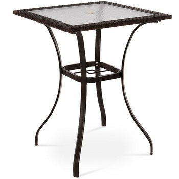 Outdoor Patio Rattan Square Table with Glass Top Garden Furniture Standing Tables HW54000