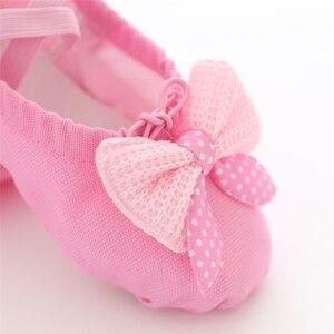 Image 4 - Kızlar dans ayakkabıları yumuşak tuval bale ayakkabıları Danse kızlar için çocuk çocuk yüksek kalite dans terlik balerin ayakkabıları
