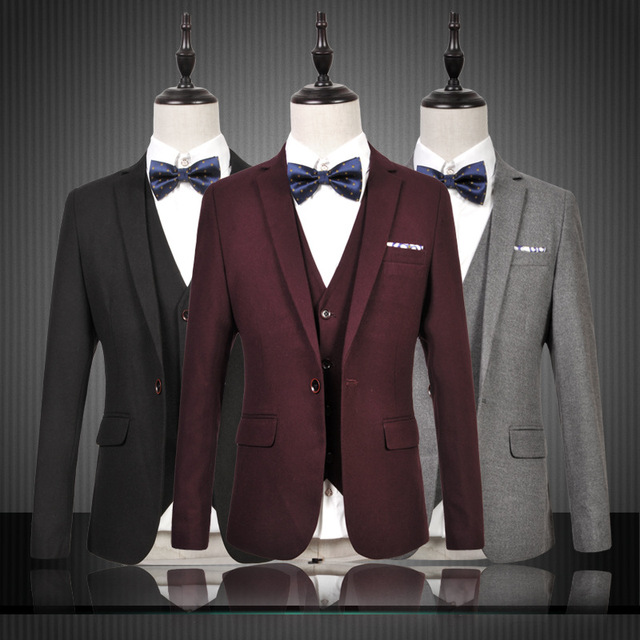 2016 spring new 3pieces suits Korean causal business grey suits male solid slim fit groom suits high quality italian suits sales
