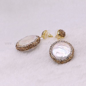 Image 3 - 5 pairs Natural pearl dangle earrings drop earrings golden color crystal druzy drop earrings  Gems jewelry 3318