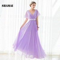 SHAMAI Cheap Floor Length Cap Sleeve Bridesmaid Dresses Wedding Party Dress Light Purple Chiffon New Bridesmaid Gown