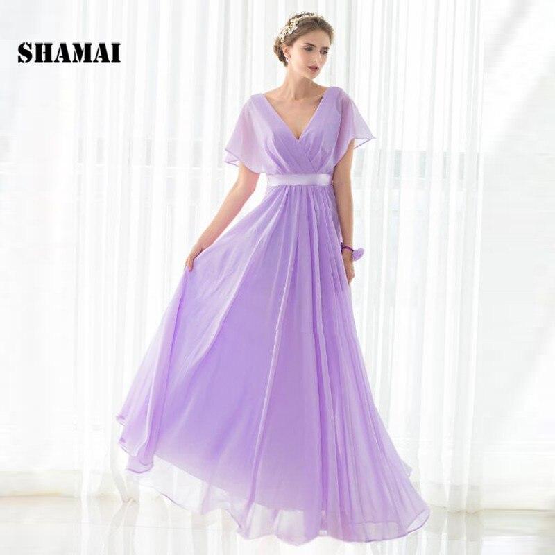 SHAMAI pas cher étage longueur Cap manches robes de demoiselle d'honneur robe de soirée de mariage en mousseline de soie violet clair nouvelle robe de demoiselle d'honneur