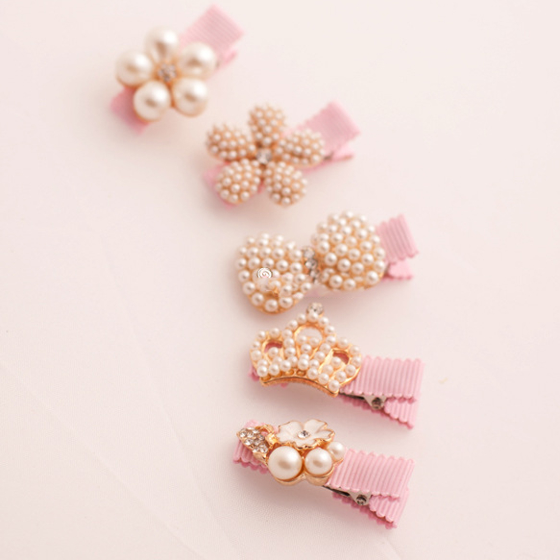 Hair Clips Crown Pearls Hairpins Children Accessory Protect Well Wrapped Bow With Princess