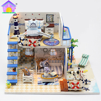 Hongda DIY Toy House Handicraft Light Blue Coast Minature Model Building Wooden Doll Houses Birthday Gifts For Children M032