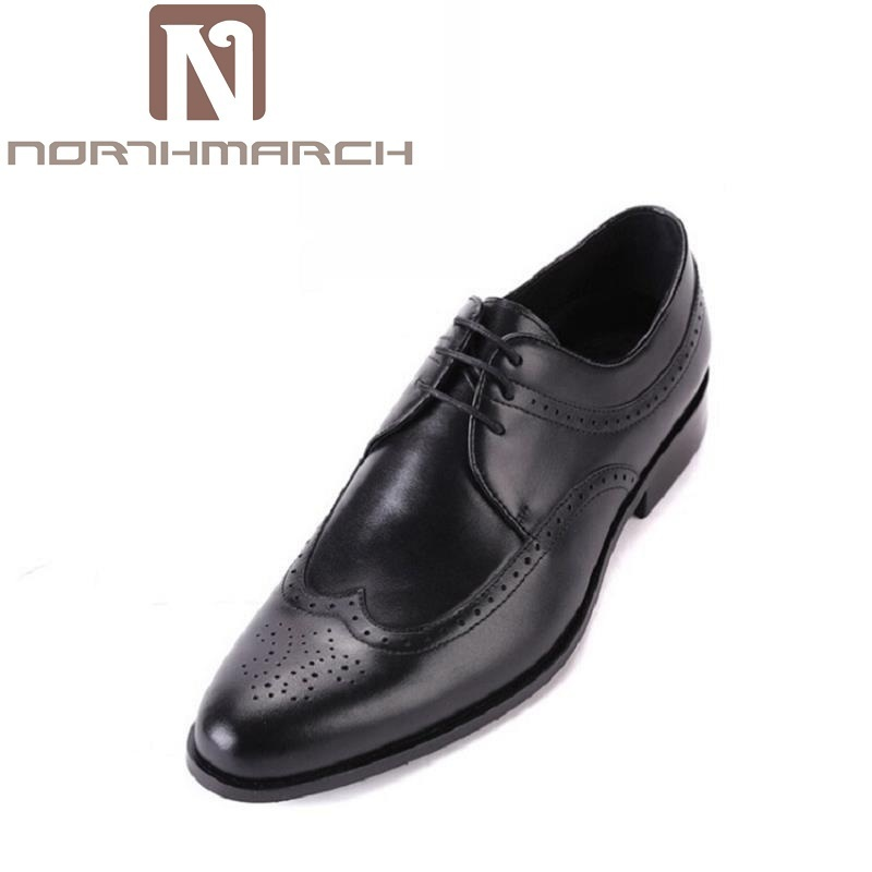 NORTHMARCH Shoes Men Genuine Leather Lace-Up Handsome Autumn Dress Shoes Black Brown Carved Hollow Wedding Shoes Luxury ProductsNORTHMARCH Shoes Men Genuine Leather Lace-Up Handsome Autumn Dress Shoes Black Brown Carved Hollow Wedding Shoes Luxury Products