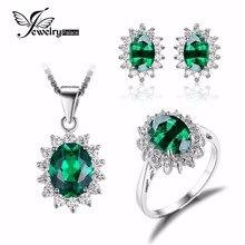 JewelryPalace Princesa Diana Nano Ruso Esmeralda Joyas de Compromiso de Boda Joyería 925 Anillo de Plata de ley Pendiente Pendiente