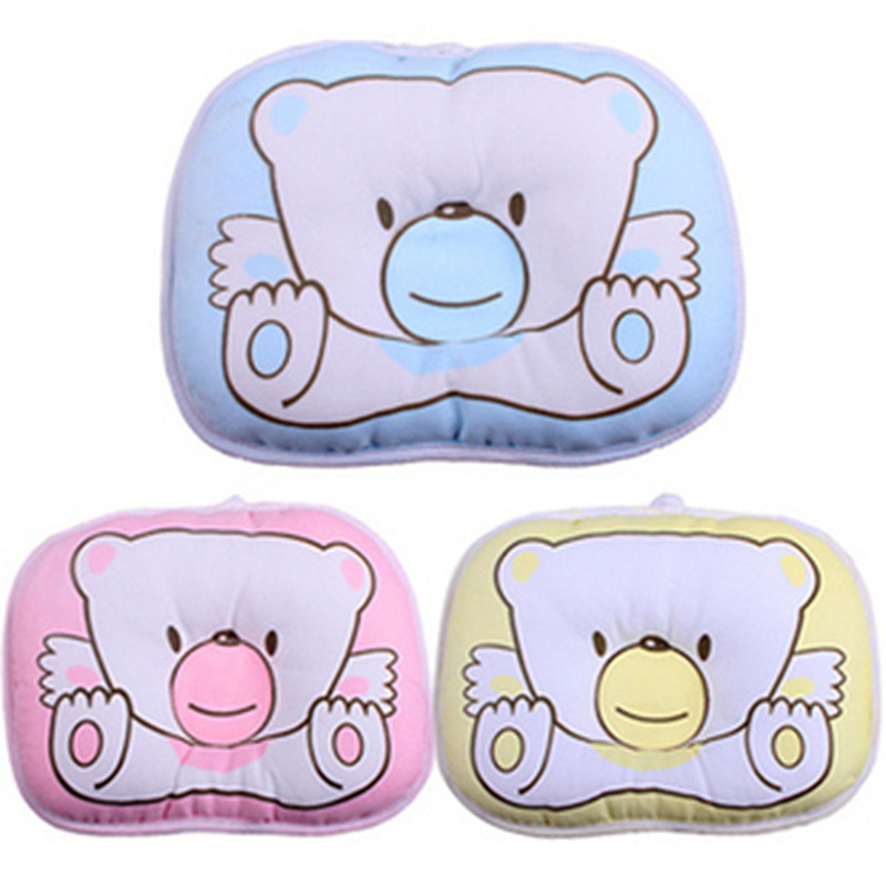 1PCS Soft Baby Infant Bedding Bear Print Oval Shape 100% Cotton Shaping Pillow High Quality