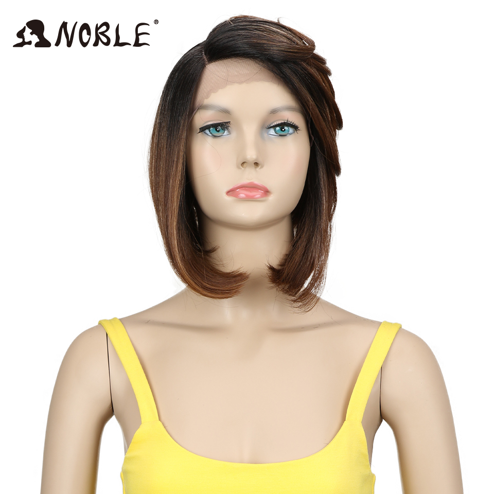 Noble Hair Synthetic Lace Front Wig High Temperature 12 Inch 3 Color Short Straight Wigs For Black Women Lace Wigs