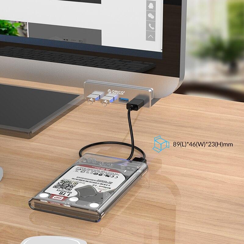 Купить с кэшбэком ORICO Aluminum 4 Ports USB 3.0 HUB High Speed USB Splitter Adapter Clip-type USB Splitter for Desktop Laptop With USB Power Port