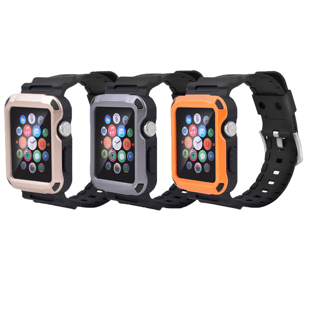 premium selection 883a3 c4a20 US $6.99 |For Apple Watch Case 38mm /42mm Tough Full Case with Strap Bands  & Built in Screen Shield for Apple Watch Series 1-in Watchbands from ...