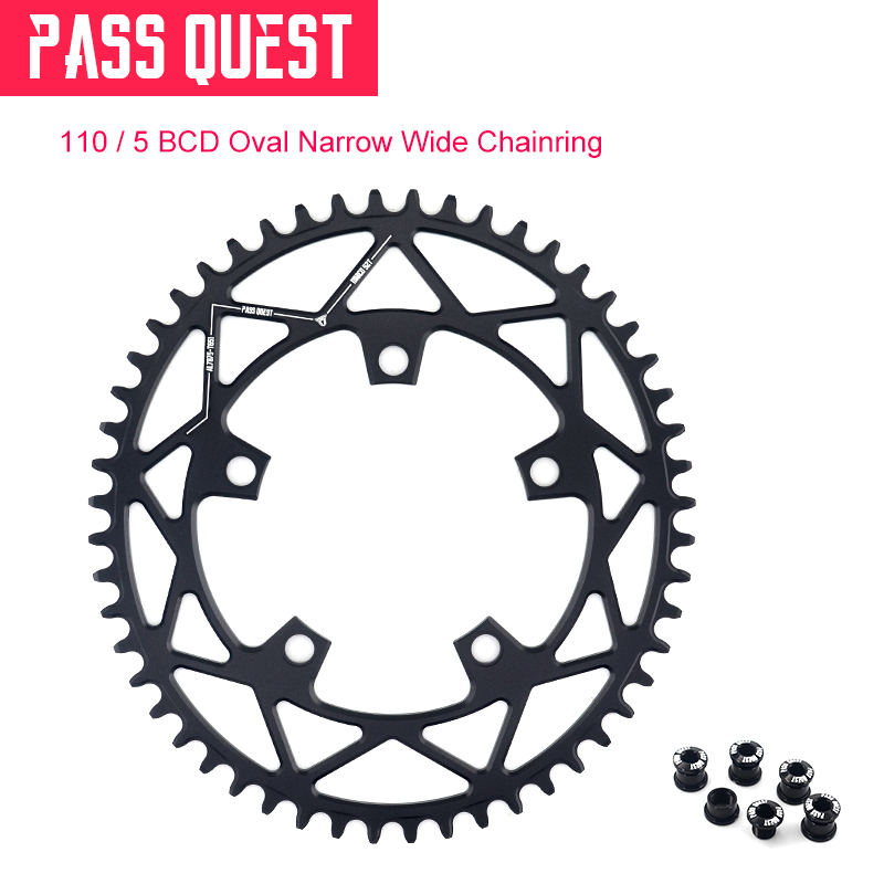PASS QUEST Oval Narrow Wide Chainring 110BCD 5 paw Road Bike ChainWheel 42T 44T 46T 48T