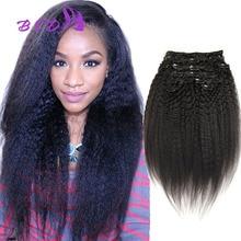 100% Human Hair Kinky Straight Clip In Hair Extensions Kinky Straight Clip Ins Clip In Remy Human Hair Extensions Full Head