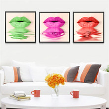 Beauty Makeup Wall Decor Painting Beauty Salon Colored Lips Canvas Art Print Poster, Wall Pictures For Girl Room HD2169(China)