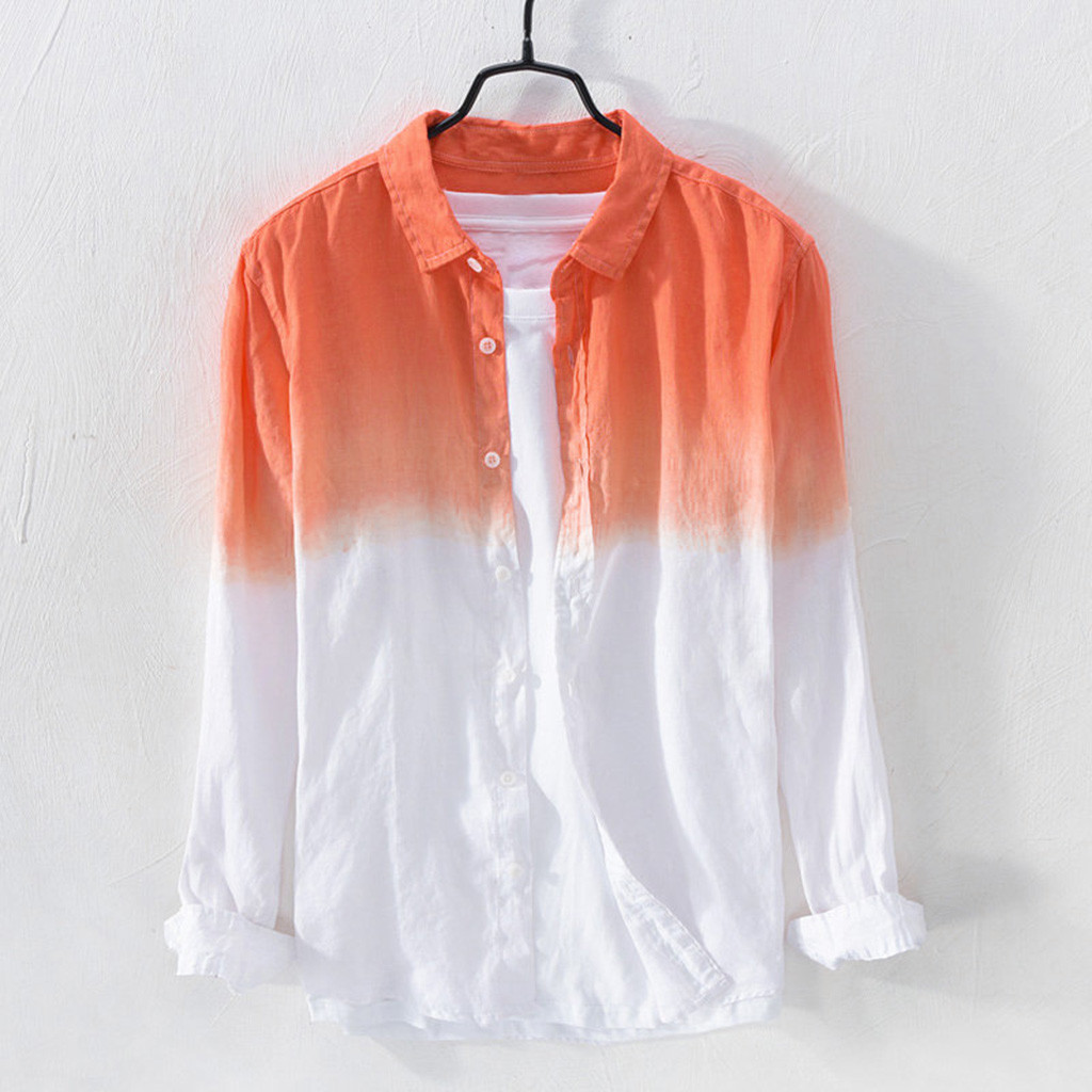 Feitong Summer Mens Cool Thin Breathable Lapel Collar Hanging Dyed Gradient Cotton Shirt Linen Shirt Male