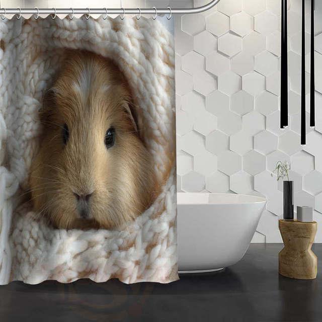 Custom Cute Guinea Pig Animal Shower Curtain Waterproof Fabric For Bathroom WJY117