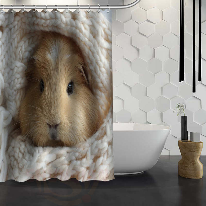 Custom Cute guinea pig animal Shower Curtain Waterproof Fabric Shower Curtain for Bathroom WJY1.17