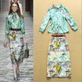 runway 2016 early spring printed long sleeve shirt + jacquard cotton package hip long skirt  two-piece women's sets