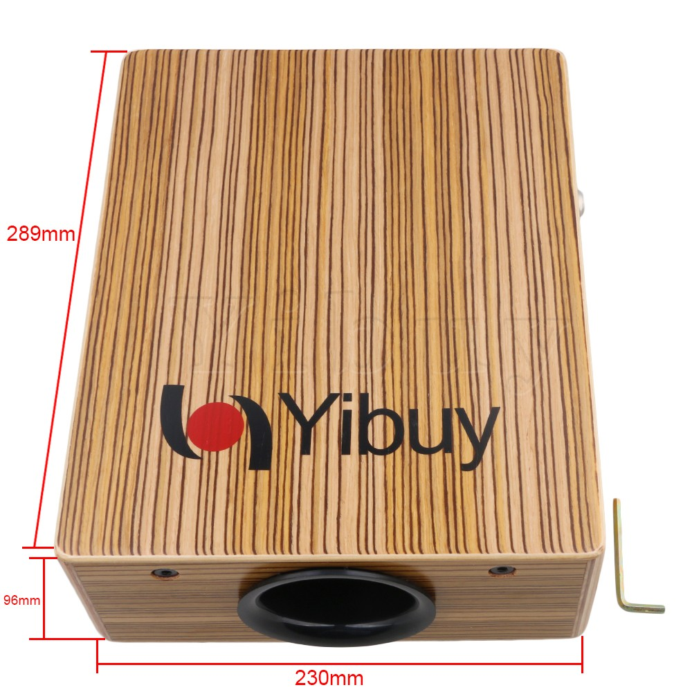 Yibuy 28.9 x 23 x 9.6cm Maple Wood Striped Color Cajon Box Hand Drum with Wrench