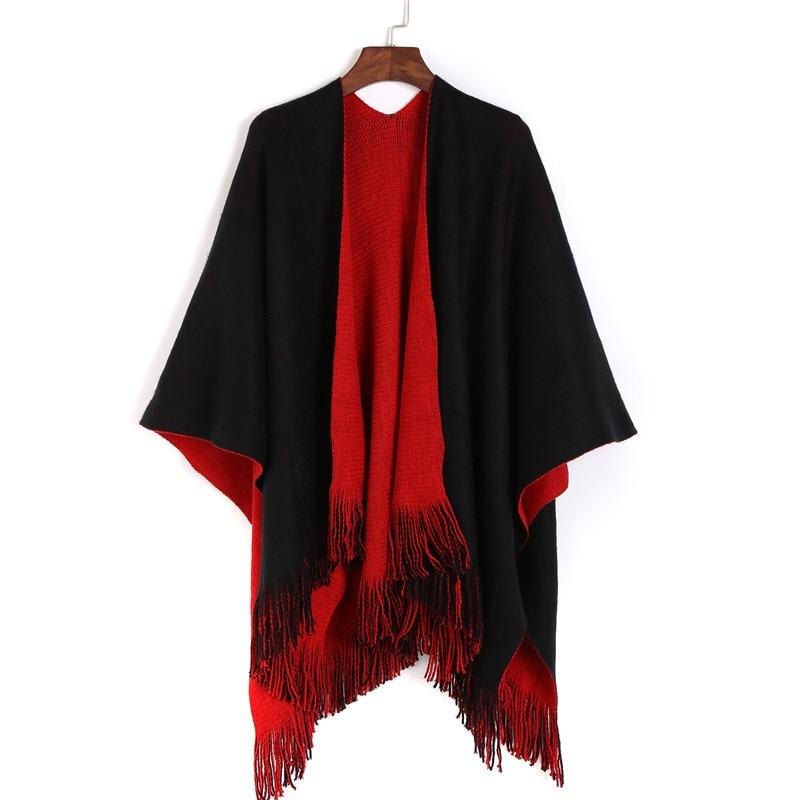 Split šal crni crveni kašmir kaiš lijepi šal za zimske žene šal - Pribor za odjeću - Foto 3