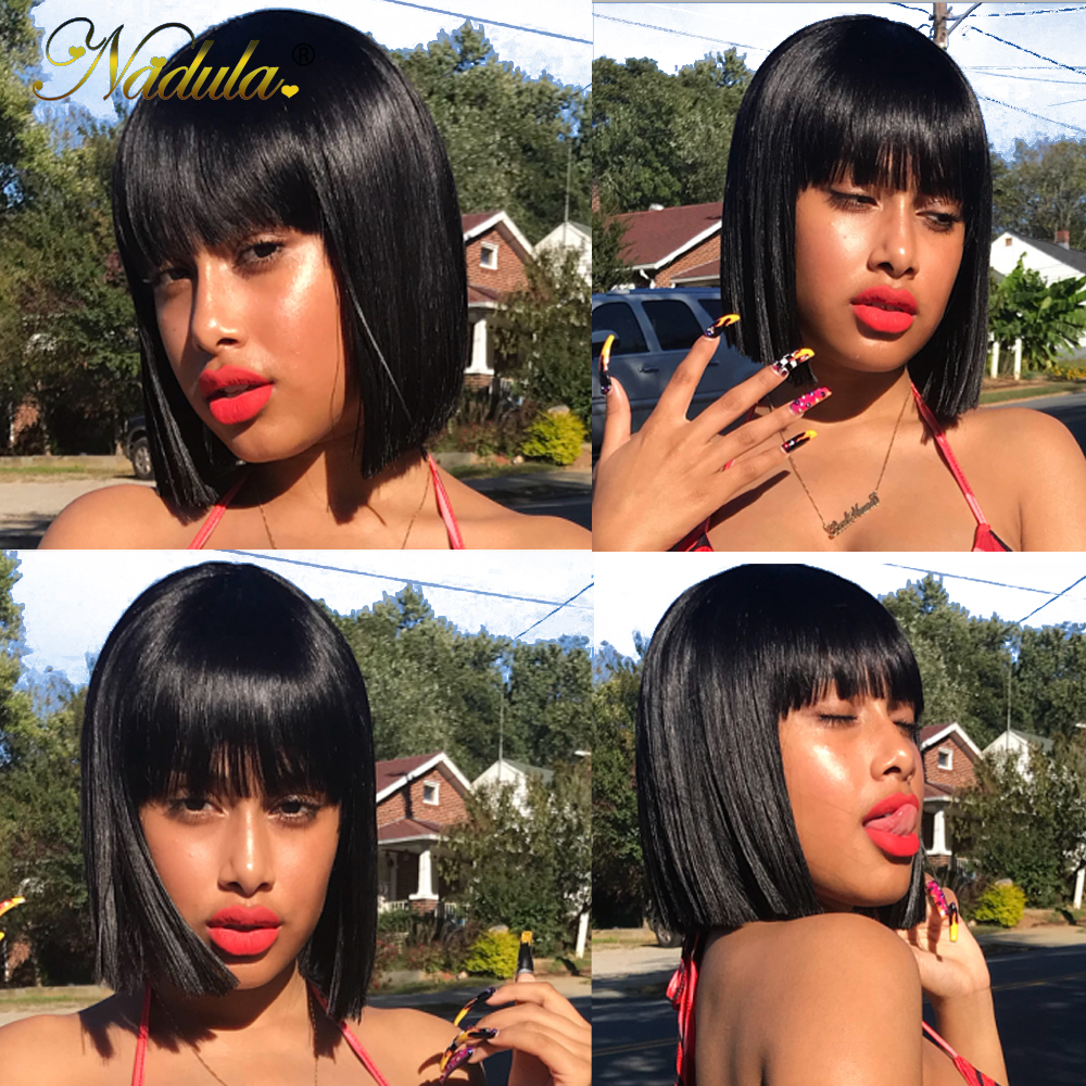 HTB1pk4GV4TpK1RjSZR0q6zEwXXaf Nadula Hair 13*4 Lace Front Wig Short Human Hair Wig 8-14inch Straight Bob Wig For Women Brazilian Remy Hair Natural Color