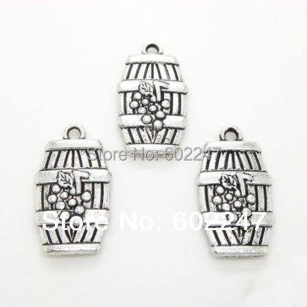 Free Shipping engraved designsTibetan Sliver Wine Cask Barrel 3D Grape Findings Beads DIY Making Wholesales, 50pcs/lot
