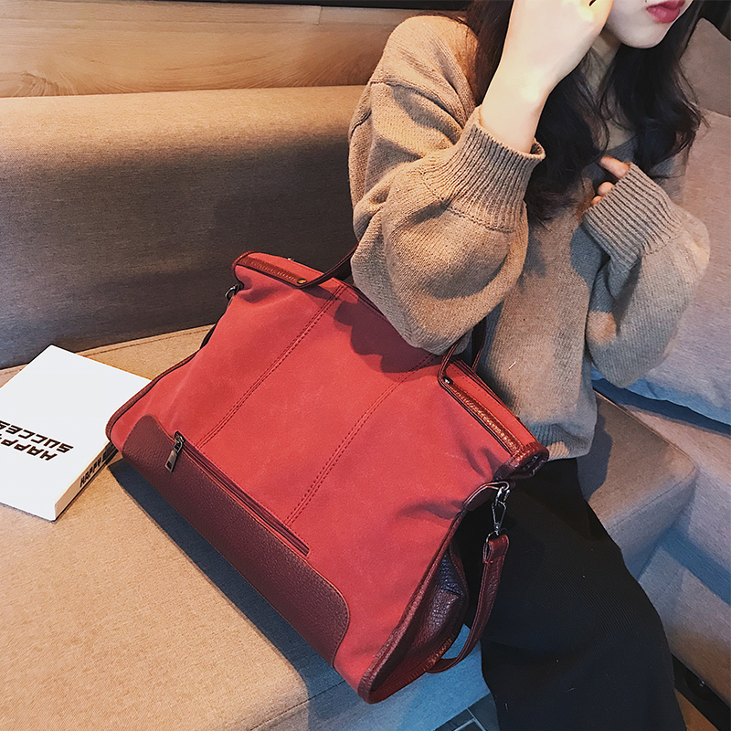 suede bag brand fashion female shoulder bag high quality split leather cosmeti totes retro large capacity handbag for women 2017