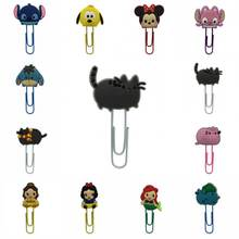 1pcs Pusheen Cat TSUM Princess Mickey Minnie Cartoon bookmark holder paper clip Book marks Office Supplies Stationery party gift