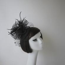 Fashion lady Bow Hat Feather Top Party Gauze women hats for church wedding elegant Headband Tea Headwewar