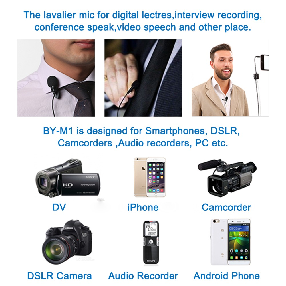 BOYA BY-M1 Lavalier Microphone for iPhone Android Smartphones Canon Nikon Sony Panasonic DSLR Camera Camcorder Audio Recorder PC