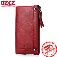 GZCZ Genuine Leather Women Wallet Female Large Capacity Fashion Woman Vallet Portomonee Long Zipper Design Purse