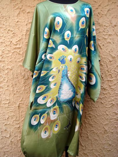 New Green Chinese Women Silk Rayon Robe Dress Sexy Kimono Bath Gown Summer Loose Lounge Nightdress Peacock One Size T0001