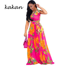Kakan summer new womens chiffon print dress deep V-neck sleeveless beach white red black blue