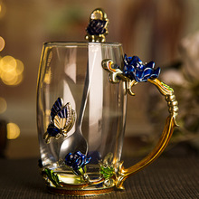 301-400ml European blue rose tea cup enamel lead-free heat resistant glass lovers Cup Gift