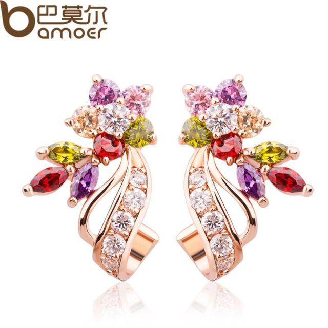 BAMOER   Gold Color Flower Oversized Big Stud Earrings with Multicolor AAA Zircon Stone Birthday Gift Jewelry JIE019
