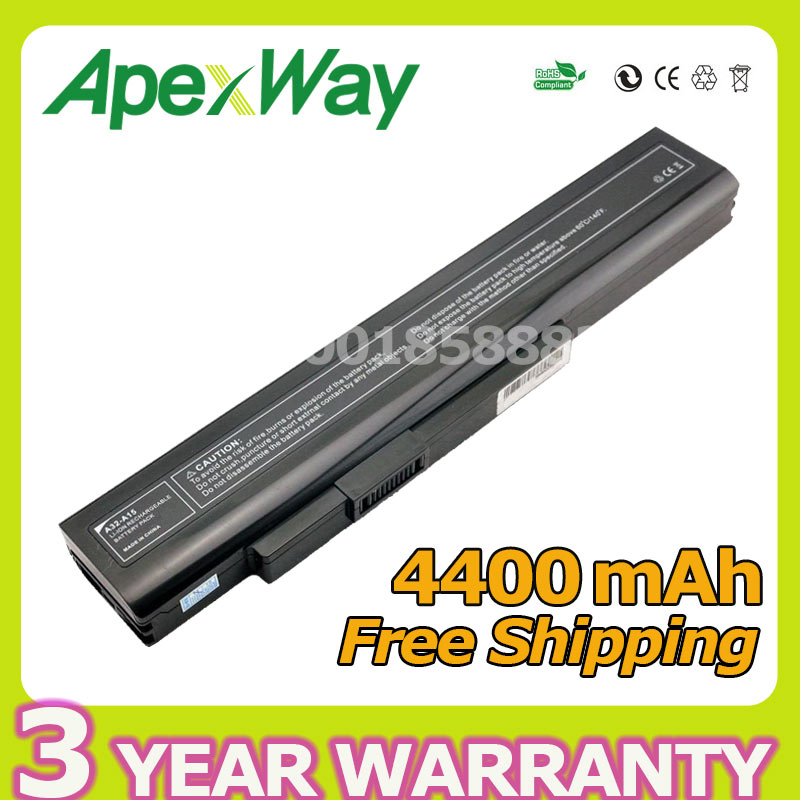Apexway 6 cell 10.8v 4400mAh Laptop Battery For A32-A15 A41-A15 A42-A15 A42-H36 A6400 for MEDION Akoya E6201 P6631 P7818 a15 2075
