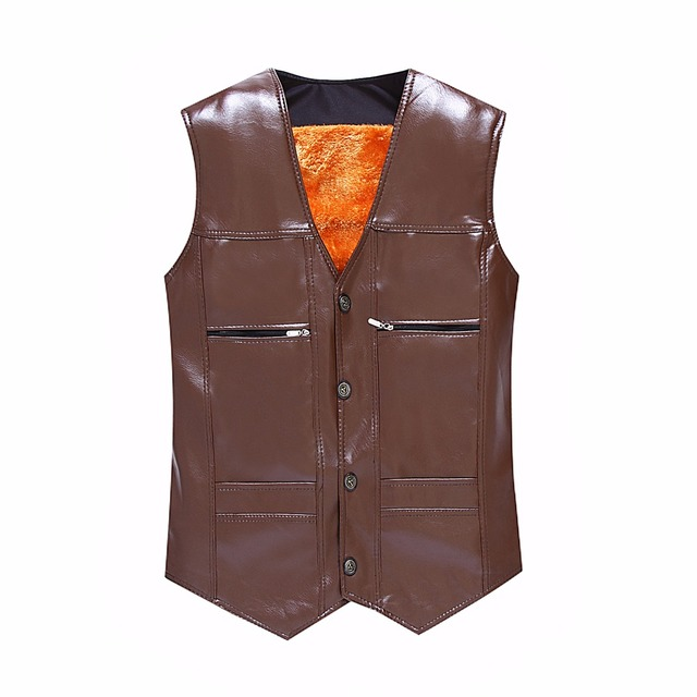 TG6312 Cheap wholesale 2016 new More middle-aged and old male leather vest and velvet warm fur shawl vest