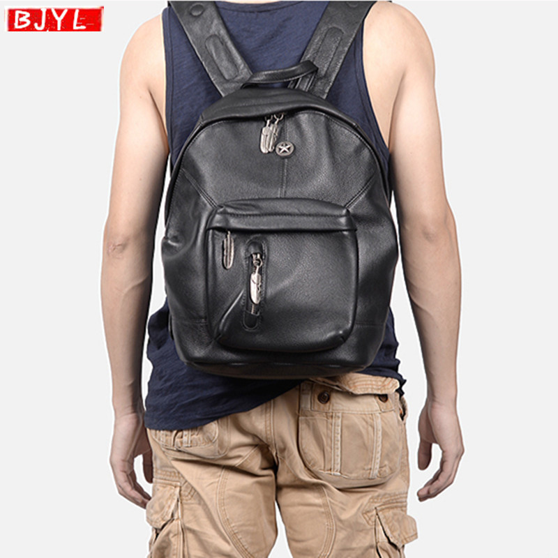 Genuine Leather men backpack top layer cowhide retro computer shoulder bag soft black leather travel bag rivet retro backpacksGenuine Leather men backpack top layer cowhide retro computer shoulder bag soft black leather travel bag rivet retro backpacks