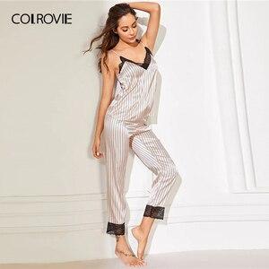 Image 5 - Top y pantalones a rayas de satén para mujer, ajuste de encaje rosa, Conjunto de pijama de primavera 2019, ropa de dormir sin mangas, camisones sexis