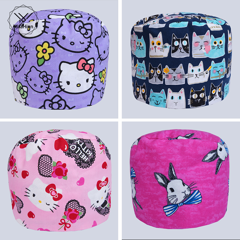 17 Colors Cartoon Printed Cute Scrub Caps Pet Hospital Gourd Hat Clinic Hospital Dental Surgical Laboratory Pharmacy Medical Cap