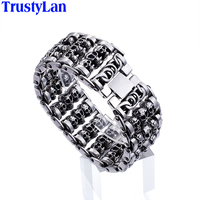 TrustyLan Solid Stainless Steel 35MM Wide Heavy Men S Skeleton Skull Bracelet Punk Rock Ghost Bangle