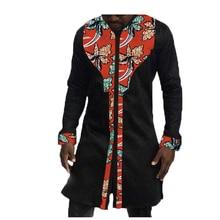 خريف / ربيع أزياء رجالي أفريقيا ملابس الأعياد الأفريقية متعدد الألوان طباعة بلايز طويلة الأكمام قمم القطن خياطة الباتيك