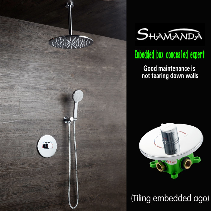 Free Shipping Brass Concealed Rotation Style Embedded Box Mixer Valve Round Shower Set with Shower Head and Arm Hand Shower