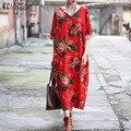 Новый ZANZEA Женщины Случайные Свободные Платья 2017 Элегантные Дамы V шеи Старинные Ретро Цветочный Печати Длинные Платья Макси Vestidos Плюс размер