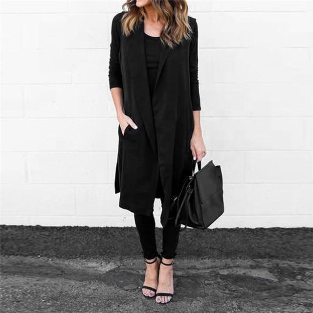 Новые Женщины Повседневная Карманный Рукавов Жилет Длинные Blazer Пальто Куртки