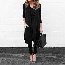 New Women Casual Pocket Sleeveless Waistcoat Long Blazer Jacket Coat