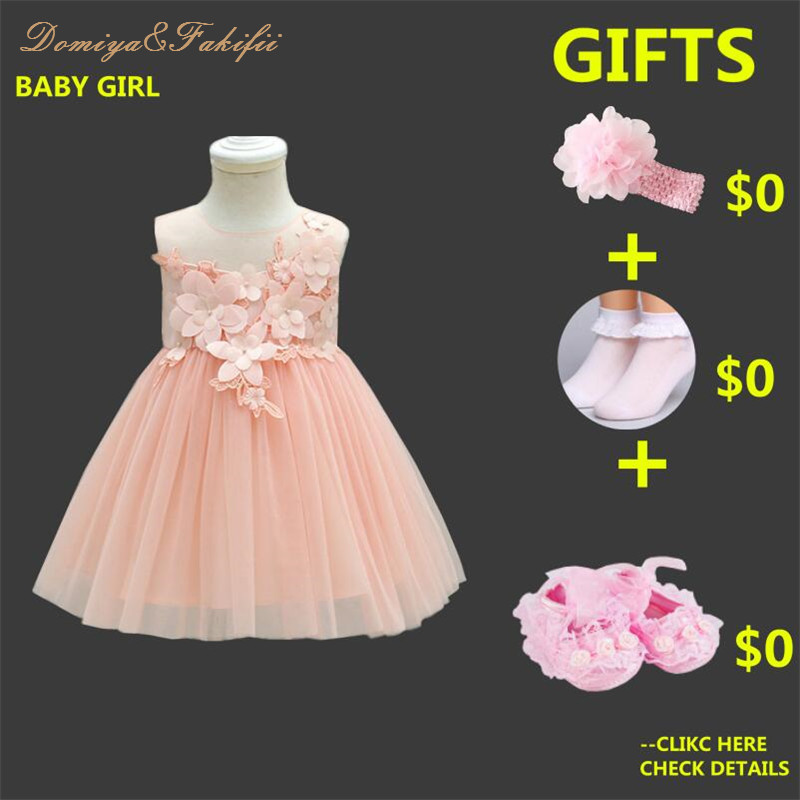 5ab8c7011db07 Baby Frock Designs Lace Christening Gown Gold Bow Baby Girl 1 Year First  Birthday Outfit Toddler ...